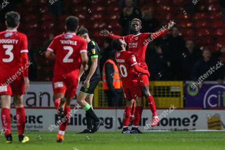 Swindon Town's Theo Robinson(35) scores a goal 2-0 and celebrates during the EFL Sky Bet League 2 match between Swindon Town and Forest Green Rovers at the County Ground, Swindon