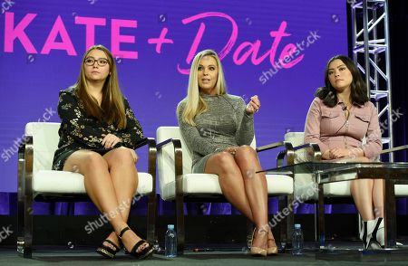"Kate Gosselin, Cara Gosselin, Mady Gosselin. Kate Gosselin, center, and her daughters Cara, left, and Mady, cast members in the TLC series ""Kate Plus Date,"" take part in a panel discussion on the show during the 2019 Winter Television Critics Association Press Tour, in Pasadena, Calif"