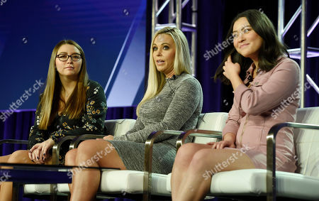 """Kate Gosselin, Cara Gosselin, Mady Gosselin. Kate Gosselin, center, and her daughters Cara, left, and Mady, cast members in the TLC series """"Kate Plus Date,"""" take part in a panel discussion on the show during the 2019 Winter Television Critics Association Press Tour, in Pasadena, Calif"""