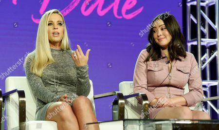 """Kate Gosselin, Mady Gosselin. Kate Gosselin, left, and her daughter Mady, cast members in the TLC series """"Kate Plus Date,"""" take part in a panel discussion on the show during the 2019 Winter Television Critics Association Press Tour, in Pasadena, Calif"""