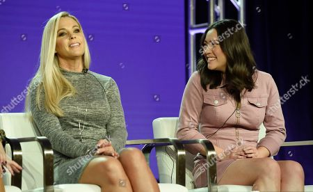 "Kate Gosselin, Mady Gosselin. Kate Gosselin, left, and her daughter Mady, cast members in the TLC series ""Kate Plus Date,"" take part in a panel discussion on the show during the 2019 Winter Television Critics Association Press Tour, in Pasadena, Calif"