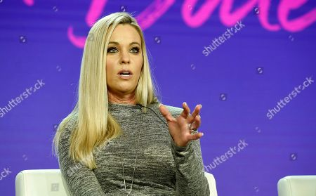 """Kate Gosselin, a cast member in the TLC series """"Kate Plus Date,"""" takes part in a panel discussion on the show during the 2019 Winter Television Critics Association Press Tour, in Pasadena, Calif"""