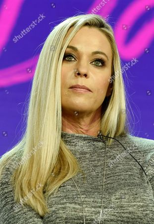 "Kate Gosselin, a cast member in the TLC series ""Kate Plus Date,"" takes part in a panel discussion on the show during the 2019 Winter Television Critics Association Press Tour, in Pasadena, Calif"