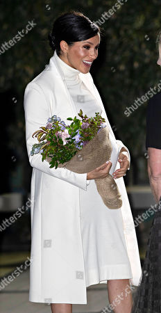 Meghan Duchess of Sussex arrives for the gala performance of 'The Wider Earth'