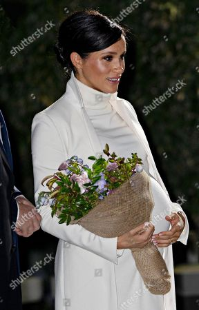 Meghan Duchess of Sussex arrives at the Natural history Museum for the gala performance of a Wider Earth