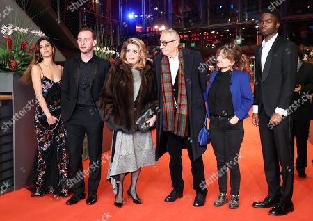 Stock Picture of Tam Slimani, Swiss actor Kacey Mottet Klein, French actress Catherine Deneuve, French director Andre Techine, French screenwriter Lea Mysius and French actor Stephane Bak arrive for the premiere of 'Farewell to the night' (L'Adieu a la nuit) during the 69th annual Berlin Film Festival, in Berlin, Germany, 12 February 2019. The movie is presented in the Official Competition at the Berlinale that runs from 07 to 17 February.