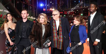 Tam Slimani, Swiss actor Kacey Mottet Klein, French actress Catherine Deneuve, French director Andre Techine, French screenwriter Lea Mysius and French actor Stephane Bak arrive for the premiere of 'Farewell to the night' (L'Adieu a la nuit) during the 69th annual Berlin Film Festival, in Berlin, Germany, 12 February 2019. The movie is presented in the Official Competition at the Berlinale that runs from 07 to 17 February.