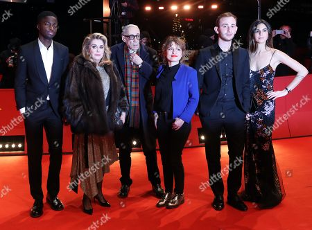 Stephane Bak, French actress Catherine Deneuve, French director Andre Techine, French screenwriter Lea Mysius, Swiss actor Kacey Mottet Klein and Tam Slimani arrive for the premiere of 'Farewell to the night' (L'Adieu a la nuit) during the 69th annual Berlin Film Festival, in Berlin, Germany, 12 February 2019. The movie is presented in the Official Competition at the Berlinale that runs from 07 to 17 February.