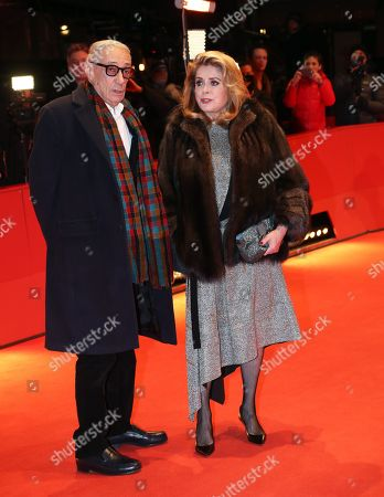 Catherine Deneuve (R) and French director Andre Techine (L) arrives for the premiere of 'Farewell to the night' (L'Adieu a la nuit) during the 69th annual Berlin Film Festival, in Berlin, Germany, 12 February 2019. The movie is presented in the Official Competition at the Berlinale that runs from 07 to 17 February.