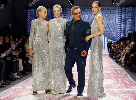 Alva Chinn, Karen Bjornson, Naeem Khan, Pat Cleveland. Models Alva Chinn, Karen Bjornson, and Pat Cleveland appear with fashion designer Naeem Khan, after walking the runway during the Naeem Khan show during New York Fashion Week, in New York