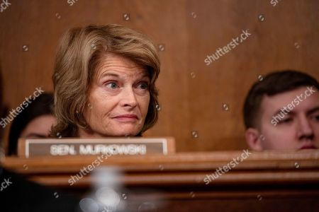 Senator Lisa Murkowski, Republican of Alaska, asks a question during a Senate Committee on Health, Education, Labor, and Pensions hearing on Capitol Hill