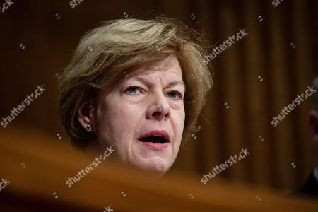 Senator Tammy Baldwin, Democrat of Wisconsin, asks a question during a Senate Committee on Health, Education, Labor, and Pensions hearing on Capitol Hill