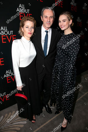 Gillian Anderson (Margo Channing), Ivo van Hove (Director) and Lily James (Eve Harrington)