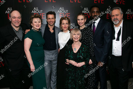 Stock Picture of Ian Drysdale (Max Fabian), Monica Dolan (Karen), Julian Ovenden (Bill), Gillian Anderson (Margo Channing), Sheila Reid (Birdie), Lily James (Eve Harrington), Rhashan Stone (Lloyd) and Stanley Townsend (Addison DeWitt)