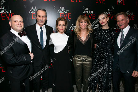 Isaac Robert Hurwitz (Producer), Ivo van Hove (Director), Gillian Anderson (Margo Channing), Sonia Friedman (Producer), Lily James (Eve Harrington) and Bob Cohen (Producer)