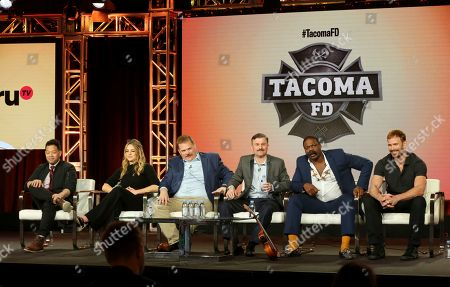 "Eugene Cordero, Hassle Harrison, Kevin Heffernan, Steve Lemme, Marcus Henderson, Gabriel Hogan. Eugene Cordero, from left, Hassle Harrison, Kevin Heffernan, Steve Lemme, Marcus Henderson and Gabriel Hogan participate in the ""Tacoma FD"" panel during the truTV presentation at the Television Critics Association Winter Press Tour at The Langham Huntington, in Pasadena, Calif"