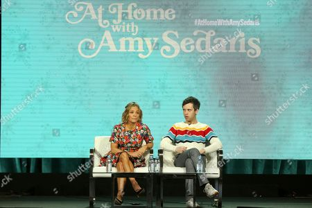 "Amy Sedaris, Cole Escola. Amy Sedaris, left, and Cole Escola participate in the ""At Home with Amy Sedaris"" panel during the truTV presentation at the Television Critics Association Winter Press Tour at The Langham Huntington, in Pasadena, Calif"