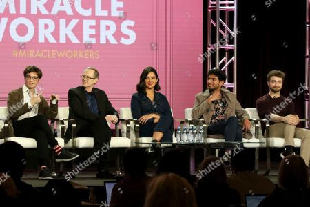 """Simon Rich, Steve Buscemi, Geraldine Viswanathan, Karan Soni, Daniel Radcliffe. Simon Rich, from left, Steve Buscemi, Geraldine Viswanathan, Karan Soni and Daniel Radcliffe participate in the """"Miracle Workers"""" panel during the TBS presentation at the Television Critics Association Winter Press Tour at The Langham Huntington, in Pasadena, Calif"""