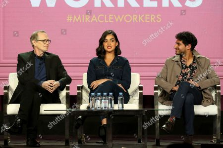 """Steve Buscemi, Geraldine Viswanathan, Karan Soni. Steve Buscemi, from left, Geraldine Viswanathan and Karan Soni participate in the """"Miracle Workers"""" panel during the TBS presentation at the Television Critics Association Winter Press Tour at The Langham Huntington, in Pasadena, Calif"""