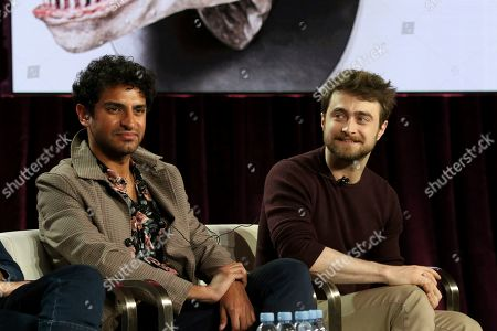 """Karan Soni, Daniel Radcliffe. Karan Soni, left, and Daniel Radcliffe participate in the """"Miracle Workers"""" panel during the TBS presentation at the Television Critics Association Winter Press Tour at The Langham Huntington, in Pasadena, Calif"""