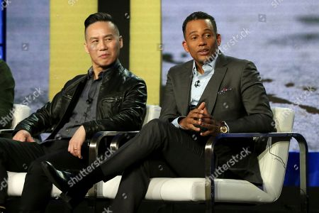 """BD Wong, Hill Harper. BD Wong, left, and Hill Harper participate in the """"CNN Headline News"""" panel during the HLN presentation at the Television Critics Association Winter Press Tour at The Langham Huntington, in Pasadena, Calif"""