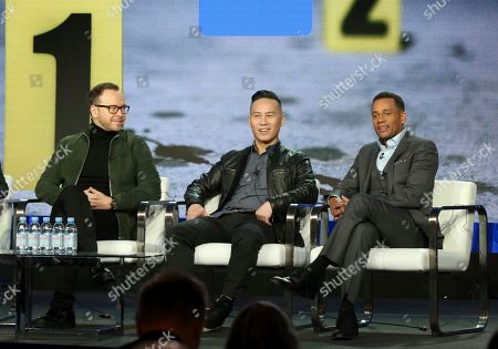 """Donnie Wahlberg, BD Wong, Hill Harper. Donnie Wahlberg, from left, BD Wong and Hill Harper participate in the """"CNN Headline News"""" panel during the HLN presentation at the Television Critics Association Winter Press Tour at The Langham Huntington, in Pasadena, Calif"""