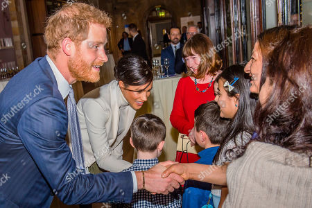 Meeting children from Urbanwise London - Prince Harry and Meghan Duchess of Sussex attend the gala performance of The Wider Earth in support of the Queen's Commonwealth Trust (QCT) and the production's official charitable partner, The Queen's Commonwealth Canopy (QCC).