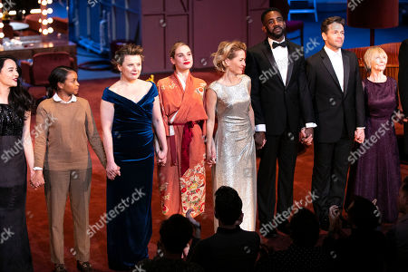 Monica Dolan (Karen), Lily James (Eve Harrington), Gillian Anderson (Margo Channing), Rhashan Stone (Lloyd), Julian Ovenden (Bill) and Sheila Reid (Birdie) during the curtain call