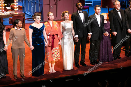 Stock Image of Monica Dolan (Karen), Lily James (Eve Harrington), Gillian Anderson (Margo Channing), Rhashan Stone (Lloyd), Julian Ovenden (Bill), Sheila Reid (Birdie) and Stanley Townsend (Addison DeWitt) during the curtain call