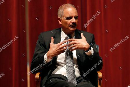 Former Attorney General Eric Holder speaks at Drake University, in Des Moines, Iowa