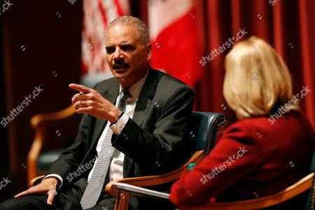 Eric Holder, Marsha Ternus. Former Attorney General Eric Holder answers a question from former Chief Justice of the Iowa Supreme Court Marsha Ternus, right, at Drake University, in Des Moines, Iowa