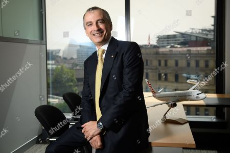 Stock Photo of Virgin Australia Group CEO and Managing Director John Borghetti poses for a photograph after delivering the company's half-year results in Sydney, Australia, 13 February 2019. Virgin Australia's half-year net profit increased from 2.84 million US dollar last year to 52.64 million US dollar.