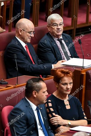 One Nation Senator Pauline Hanson (bottom) and United Australian party Senator Brian Burston are seen during the passing of the Medieval Bill in the Senate chamber at Parliament House in Canberra, Australia, 13 February 2019.