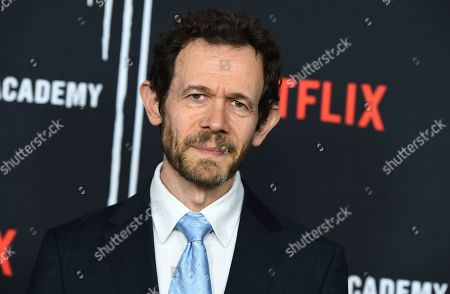 """Adam Godley arrives at the Los Angeles premiere of """"The Umbrella Company"""" at The Arclight Hollywood on"""