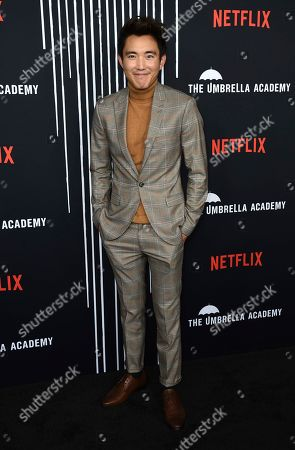 "Justin Min arrives at the Los Angeles premiere of ""The Umbrella Company"" at The Arclight Hollywood on"