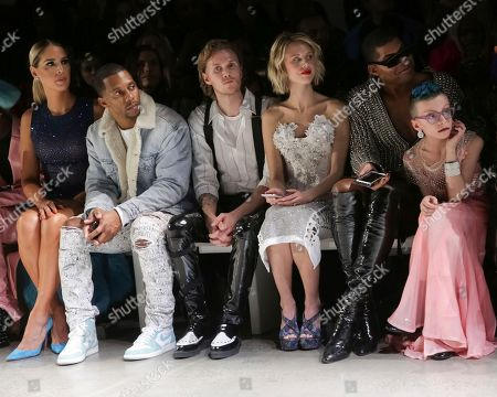 Carmen Carrera, Victor Cruz, Barron Hilton II, Tessa Hilton, EJ Johnson, Desmond Is Amazing, Desmond Napoles. Carmen Carrera, from left, Victor Cruz, Barron Hilton II, Tessa Hilton, EJ Johnson and Desmond Is Amazing attend The Blonds Runway Show held at Spring Studios during New York Fashion Week on in New York
