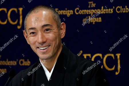Stock Picture of Popular Japanese kabuki actor Ichikawa Ebizo XI attends a press conference at the Foreign Correspondents' Club of Japan in Tokyo, Japan, 13 February 2019. Coming from a 300-year-old acting dynasty, Ichikawa Ebizo XI is aiming to modernize the Japanese theater while maintaining its traditions.