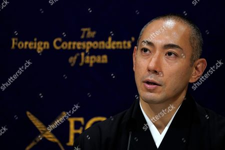 Popular Japanese kabuki actor Ichikawa Ebizo XI attends a press conference at the Foreign Correspondents' Club of Japan in Tokyo, Japan, 13 February 2019. Coming from a 300-year-old acting dynasty, Ichikawa Ebizo XI is aiming to modernize the Japanese theater while maintaining its traditions.