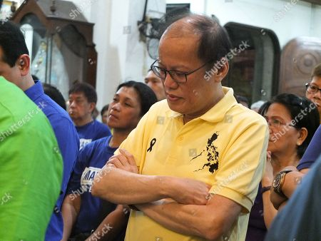 "Former President Benigno ""Noynoy"" Aquino III seen joining the opposition slate in a mass sponsored by the Otso Diretso coalition in Caloocan City."
