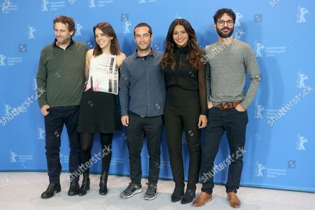 Fernando Epstein, Livia Serpa, Diego Garcia, Dira Paes and director Gabriel Mascaro (R) pose during the photocall of 'Divine Love' (Divino Amor) during the 69th annual Berlin Film Festival, in Berlin, Germany, 13 February 2019. The movie is presented in the Panorama section at the Berlinale that runs from 07 to 17 February.