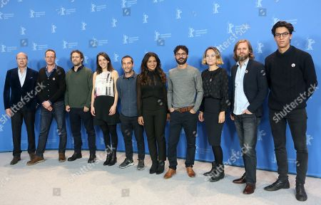 Cast and crew members, including (3-L to 2-R) Fernando Epstein, Livia Serpa, Diego Garcia, Dira Paes, director Gabriel Mascaro, Rachel Daisy Ellis and Sandino Saravia Vinay pose during the photocall of 'Divine Love' (Divino Amor) during the 69th annual Berlin Film Festival, in Berlin, Germany, 13 February 2019. The movie is presented in the Panorama section at the Berlinale that runs from 07 to 17 February.