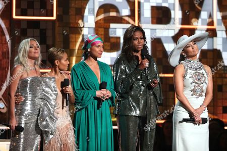 Stock Image of Lady Gaga, Jada Pinkett Smith, Alicia Keys, Michelle Obama, Jennifer Lopez. Lady Gaga, from left, Jada Pinkett Smith, Alicia Keys, Michelle Obama and Jennifer Lopez speak at the 61st annual Grammy Awards in Los Angeles. Obama received a reality check from her mother following her appearance at the Grammys. The former first lady took to Instagram Wednesday, Feb. 13, to share a text exchange with mom Marian Robinson