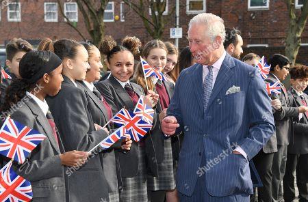 Prince Charles visit to Kensington Aldridge Academy, London