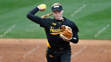 Stock Image of Iowa shortstop Ashley Hamilton (18) fields a ground ball during an Iowa at LSU NCAA softball game on in Baton Rouge, La