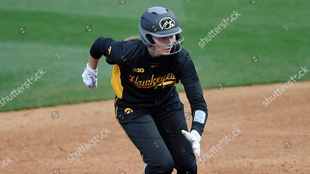 Iowa shortstop Ashley Hamilton (18) runs the bases during an Iowa at LSU NCAA softball game on in Baton Rouge, La