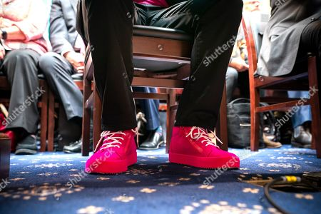 John Legere, CEO of T-Mobile, wears purple shoes as he testifies before a House Energy and Commerce Committee hearing on 'the state of competition in the wireless market' in the Rayburn House Office Building in Washington, DC, USA, 13 February 2019. Legere and Marcelo Claure, executive chairman of Sprint, defended the proposed 26 billion US dollar merger between T-Mobile and Sprint.