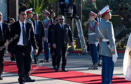 King Mohammed VI of Morocco and his son and Crown Prince Moulay El Hassan and King's brother Prince Moulay Rachid arrive to receive King Felipe VI of Spain at the Rabat Sale airport in Rabat, Morocco, 13 February 2019. King Felipe VI of Spain is on a two-days official visit to Morocco.