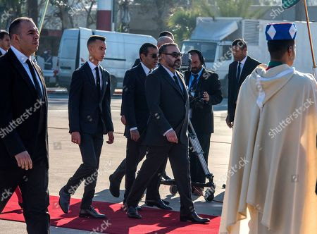 King Mohammed VI (C) of Morocco his son and Crown Prince Moulay El Hassan (C-L) and King's brother Prince Moulay Rachid receive King King Felipe VI and Queen Letizia of Spain  at the Rabat Sale airport in Rabat, Morocco, 13 February 2019 . King Felipe VI of Spain is on a two-days official visit to Morocco.