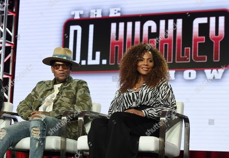 """D L Hughley, Jasmine Sanders. D L Hughley, left, and Jasmine Sanders speak during TV One's """"Uncensored"""" and """"The D.L. Hugely Show"""" panel during the Winter Television Critics Association Press Tour, in Pasadena, Calif"""