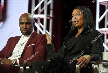 """Keith Neal, Tasha Smith. Executive producer Keith Neal, left, and Tasha Smith speak during TV One's """"Uncensored"""" and """"The D.L. Hugely Show"""" panel during the Winter Television Critics Association Press Tour, in Pasadena, Calif"""